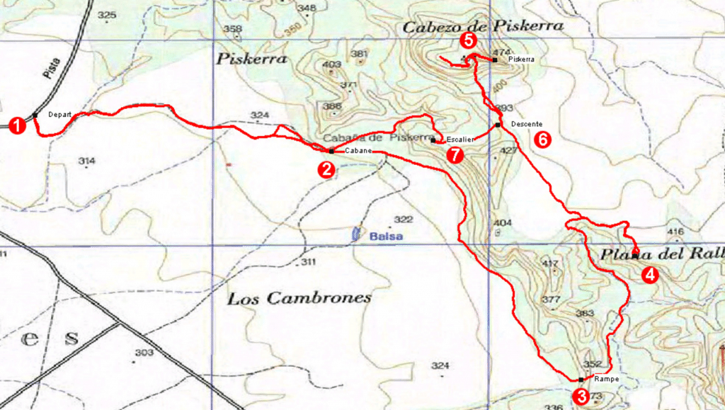 Carte randonnée Piskerra, Bardenas Reales