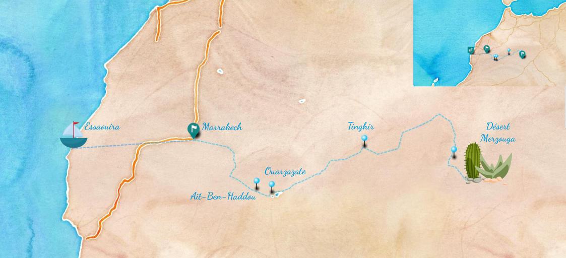 Carte road trip Maroc : de Marrakech jusqu'à Aït-Ben-Haddou
