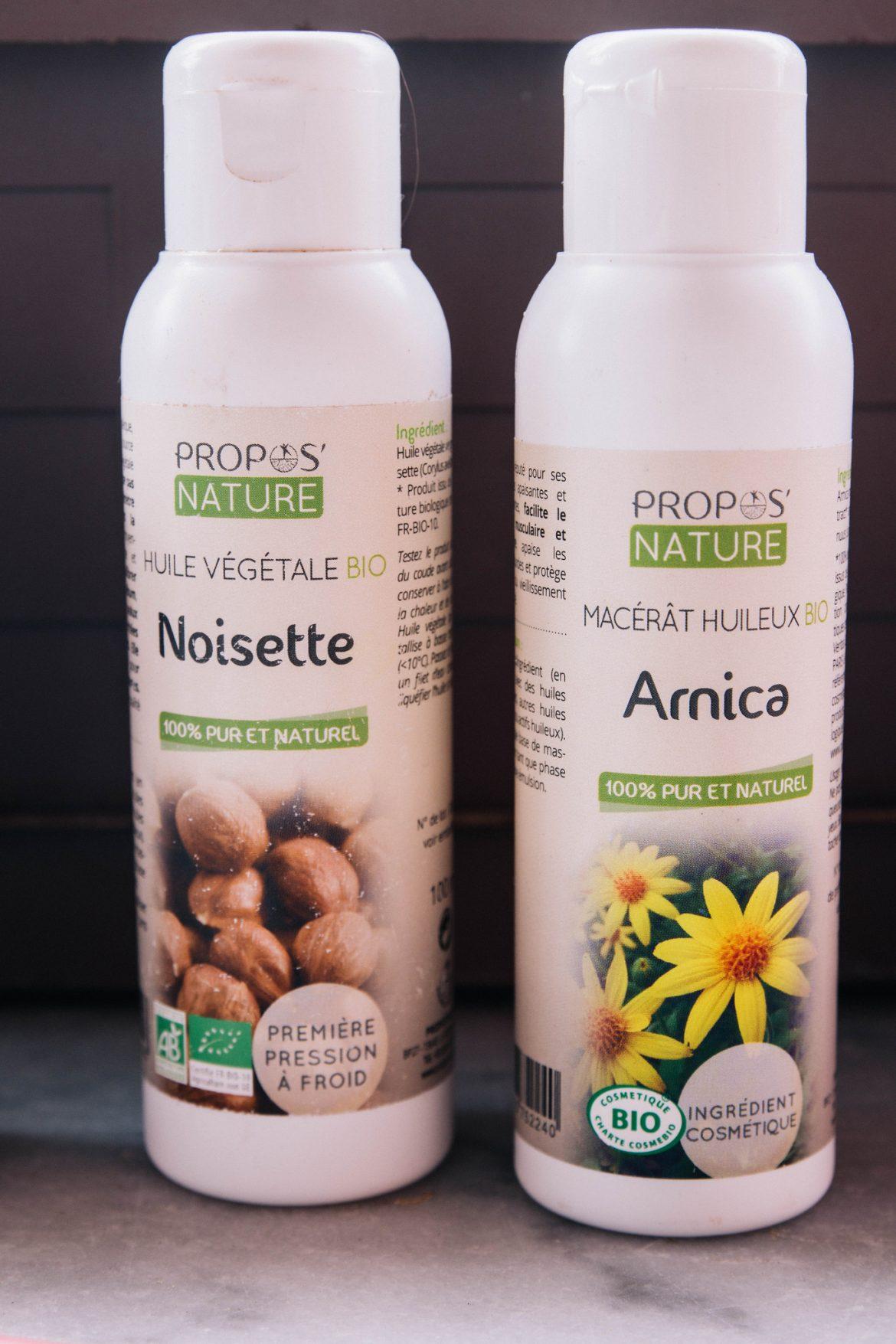 Utiliser les huiles végétales de noisette et Arnica